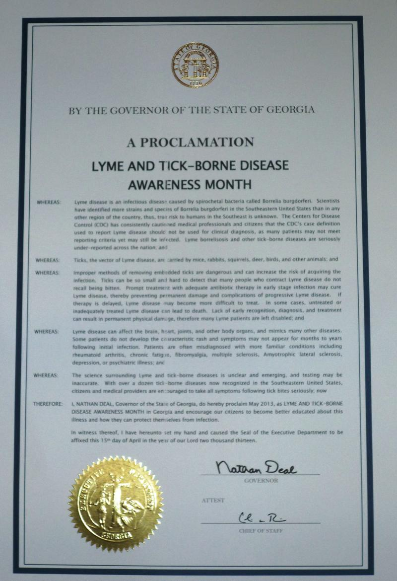 Georgia's 2013 TBD Awareness Proclamation